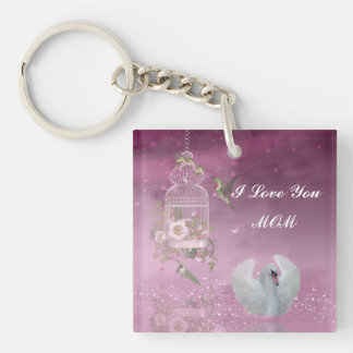"""I Love You, Mom"" Square (single-sided) Keychain"