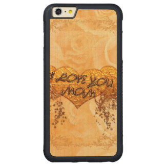 I love you mom with hearts and roses carved® maple iPhone 6 plus bumper case