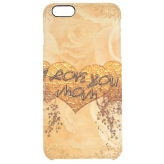 I love you mom with hearts and roses clear iPhone 6 plus case