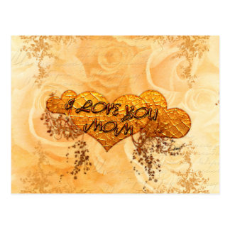I love you mom with hearts and roses postcard