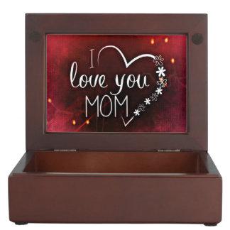 I Love You Mom Wooden Keepsake Box