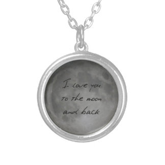 I Love You, Moon and Back Full Moon Round Pendant Necklace