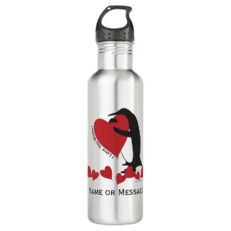 I Love You More! - Penguin Red Hearts Personalized 710 Ml Water Bottle
