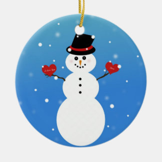 I Love You More Snowman Round Ceramic Decoration