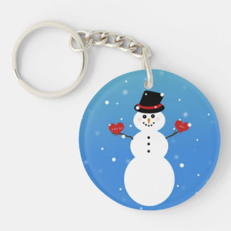 I Love You More Snowman Single-Sided Round Acrylic Key Ring
