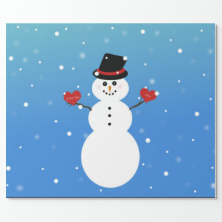 I Love You More Snowman Wrapping Paper