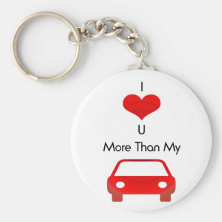 I love you more than my car in red by mobo basic round button key ring