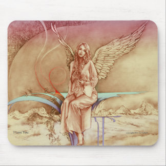 """""""I love You""""  Mouse pad with angel image"""