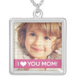 I Love You Mum - Custom Photo Square Pendant Necklace