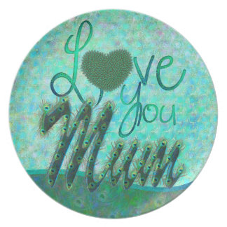 I Love you mum decorated text design plates