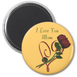 I Love You Mum Red Roses Heart Magnet