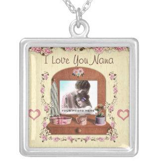 I Love You Nana Silver Photo Necklace