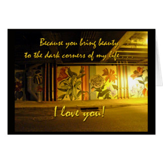 I Love You Nightime Graffiti Card