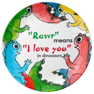 """""""I love you"""" note with cute baby dinosaurs Porcelain Plates"""