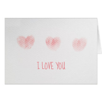 I Love You Note with Fingerprint Hearts Card