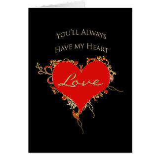 I LOVE YOU - Ornate Heart on Black - Gold Trim Card