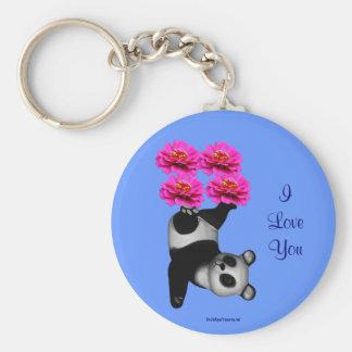I Love You Panda Bear Flower Photo Keychain