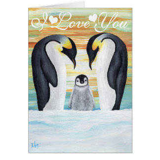 I Love You Penguin Family with Baby Penguin Card