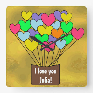I love you Personalized Colorful Heart Balloons Square Wall Clock