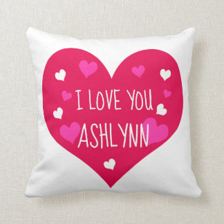 I Love You Personalized Hearts Cushion