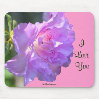 I Love You Pink Azalea Flower Photo Mousepad