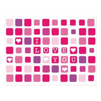 I love you pink mosaic postcard