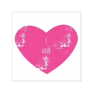 I love you pink personalized heart self-inking stamp