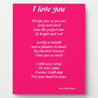 I love you poem plauque plaque