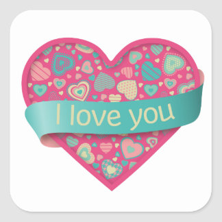 I love you - Popsicle Love Square Sticker