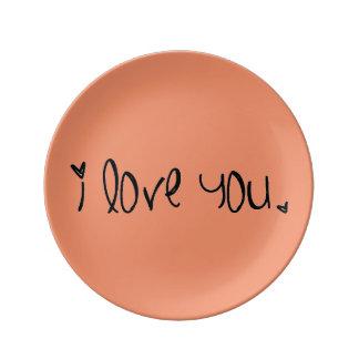 'I love you' Porcelain Plate