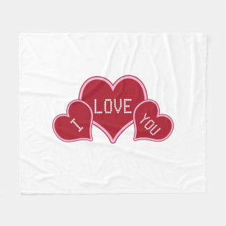 I Love You Red And White Valentine Hearts Fleece Blanket