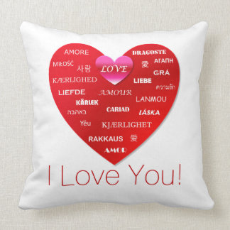 I Love You | Red Heart with Many Words of Love Cushion