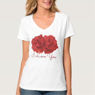 I love you Red rose custom text T-shirts