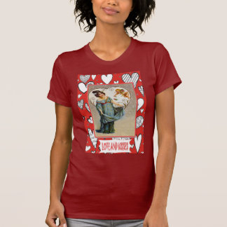 I love you, retro valentine with hearts t shirt