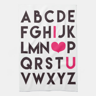 I LOVE YOU - Romantic Alphabet Kitchen Towel