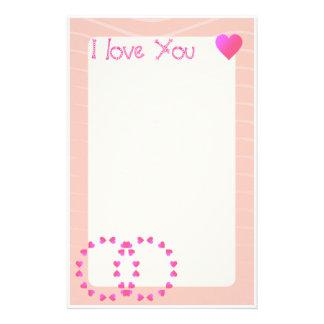 I love you | Romantic hearts Stationery