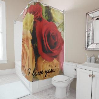 I love you Romantic Roses Print Shower Curtain