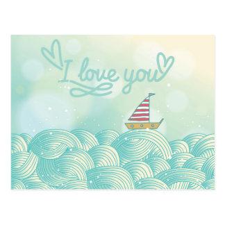 I Love You Sailboat Postcard