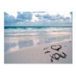 I Love You, Sand Writing on the Beach Post Card
