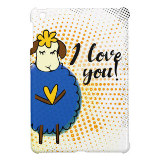I love you sign with cute doodle sheep and rustic cover for the iPad mini