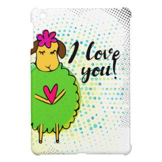 I love you sign with cute doodle sheep and rustic iPad mini case