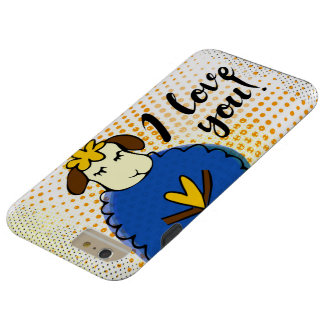 I love you sign with cute doodle sheep and rustic tough iPhone 6 plus case