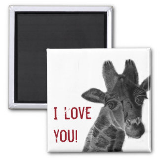 """""""I love you"""" sign with graphic giraffe Square Magnet"""