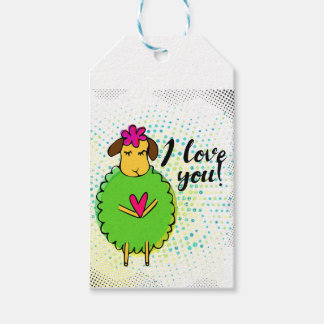 """""""I love you"""" sign with graphic retro Gift Tags"""