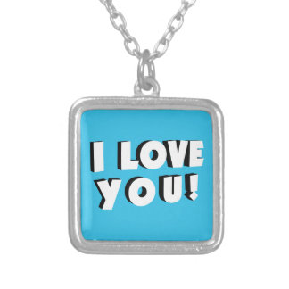 I love you! silver plated necklace