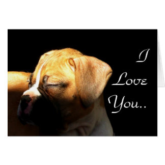 I Love You Sleeping boxer puppy Greeting Card