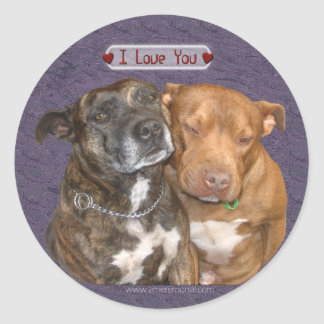 I Love You Snuggling Staffys Classic Round Sticker