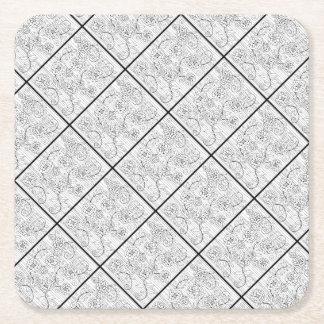 I Love You So Much Line Art Design Square Paper Coaster