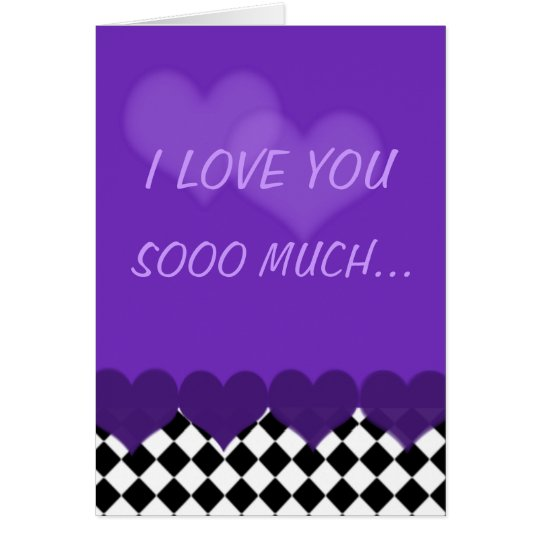 I love you so much purple with checks and hearts card