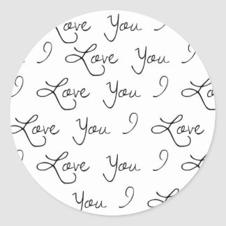 I love you sticker, wedding sticker, present classic round sticker